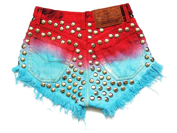 dip dye high waisted denim shorts xs-f90223