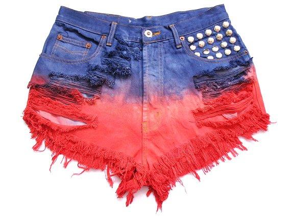 studded and dip dye high waist shorts l-f23334
