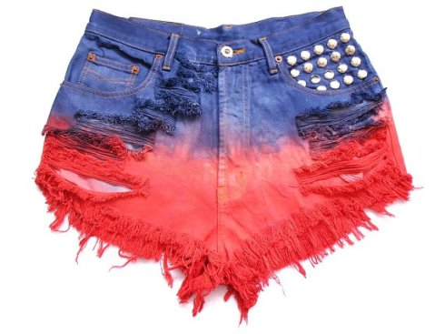 studded and dip dye high waist shorts l-f23334