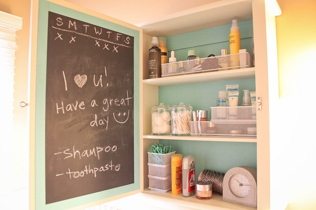 diy bathroom cabinet makeover chalkboard tutorial