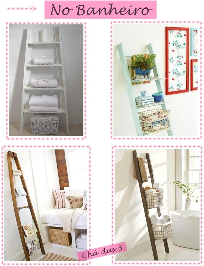 decoracao banheiro diy:Escadas também podem servir como decoração. Mil e uma utilidades.